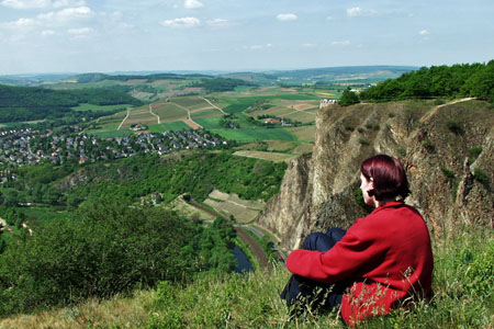 View from Rotenfels vantage point down to the Nahe river (Nahe Valley)