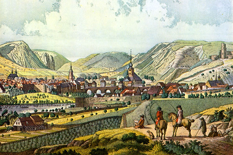 Copperplate engraving of Bad Kreuznach by Matthäus Merian (1593-1650) (Nahe Valley)