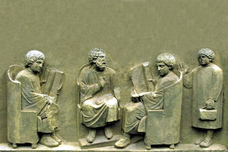 Relief with Roman students at school from Neumagen (Nahe Valley & Hunsrück)