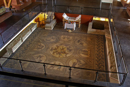 Completely conserved floor mosaic of a Roman Villa Suburbana in Bad Kreuznach (Nahe Valley)