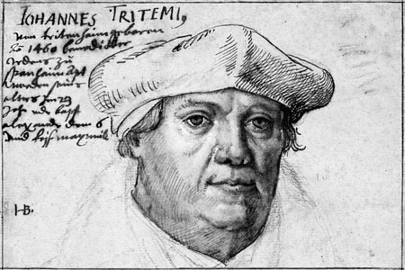 Portrait of Johannes Trithemius by Hans Burgkmair from 1510 (Nahe Valley)