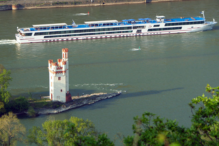 The world-famous «Mice Tower» in the Rhine river near Bingen (Rhine Valley)