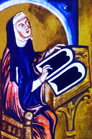 Hildegard von Bingen working on a scientific manuscript (Nahe Valley)