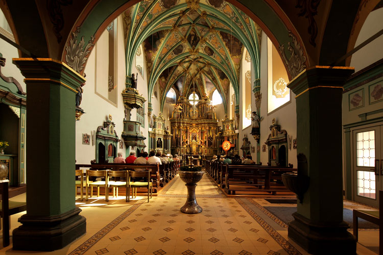 Interior of pilgrimage church «Our Mother on the Soon Forest» in Spabrücken (Nahe Valley)