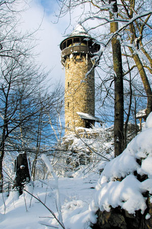 Observation tower on the Wildenburg mountain in winter («Idarwald» Forest)