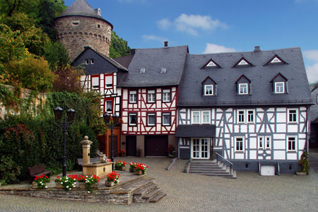 Market place of the medieval town of Herrstein («Idarwald» Forest)