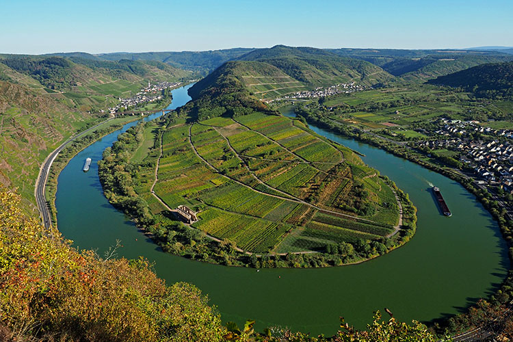 Survey of the Mosel valley with cloister ruine Stuben from the vantage point of the Calmont (Mosel Valley)