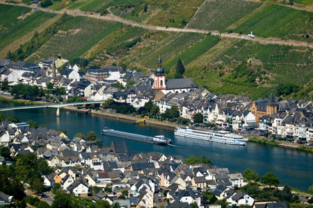 View over Zell and Mosel river from Bummkopf viewpoint (Mosel Valley)